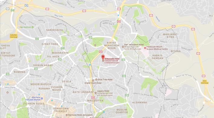Ambassador Hotel Jerusalem map