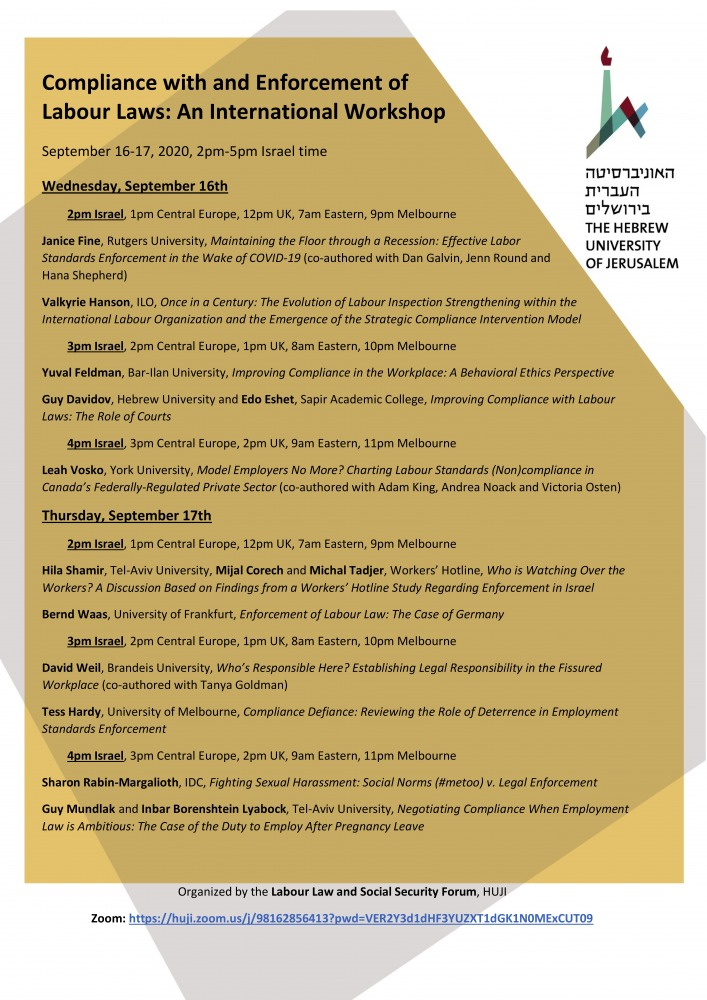 Compliance with and Enforcement of Labour Laws -  An International Workshop