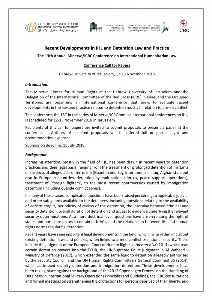 Conference Call for Papers - 13th Annual IHL - Detention