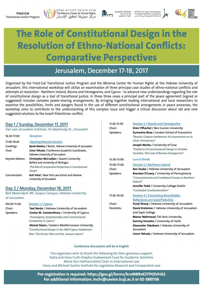 The Role of Constitutional Design in the Resolution of Ethno-National Conflicts: Comparative Perspectives