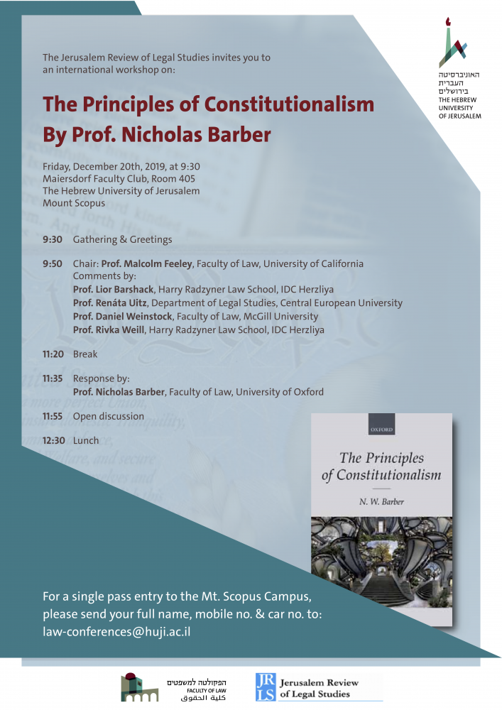 The Principles of Constitutionalism By Prof. Nicholas Barber