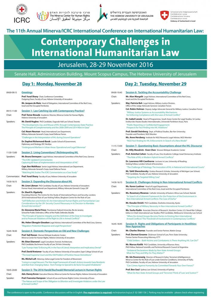 The 11th Annual Minerva/ICRC International Conference