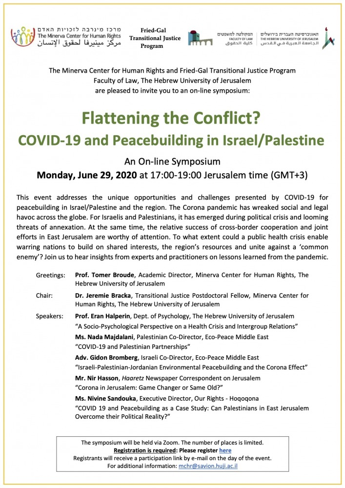 Flattening the Conflict? COVID-19 and Peacebuilding in Israel Palestine