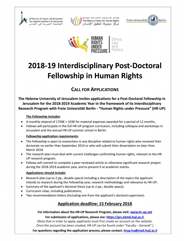"Call for Applications for the ""Human Rights under Pressure"" Joint Interdisciplinary Post-Doctoral Fellowship"