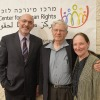 Justice Rosalie Silberman Abella, Justice Aharon Barak and Prof. Tomer Broude, academic director of the Hebrew University's Minerva Center for Human Rights, April 9, 2018 (Bruno Charbit)
